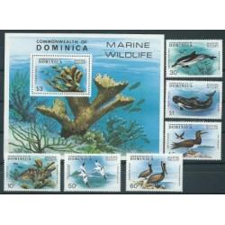 Dominika - Nr 630 - 35 Bl 56 1979r - Ryby - Ptaki