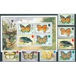 Antigua - Nr 381 - 87 Bl 22 1975r - Motyle