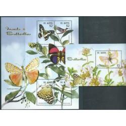 St Kitts - Nr 852 - 55 Bl 70 -  Motyle